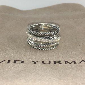 David Yurman Crossover Ring with Diamonds Size 8